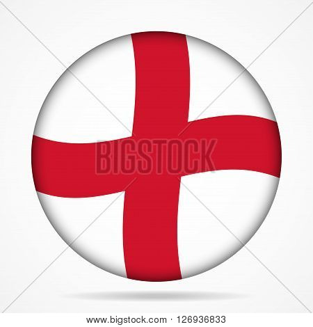 button with waving national flag of England and shadow
