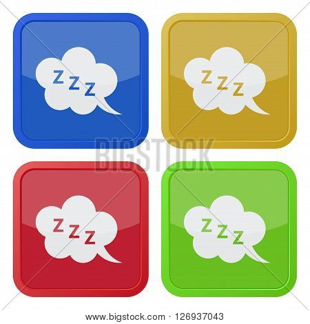 set of four colored square icons with ZZZ speech bubble