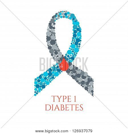 Diabetes Type 1 awareness symbol. Blue and grey ribbon made of circles with a drop of blood on white background. Diabetes symbol. Diabetes type one sign. Vector illustration.
