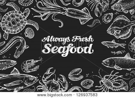 seafood. template design menu restaurant or cafe. hand drawn food