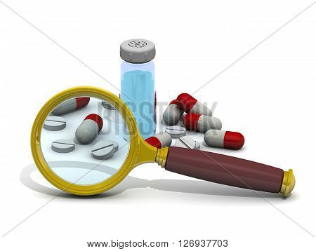 Search medicaments. Magnifying glass and medicines on a white surface. The concept of searching and studying medicaments. Isolated. 3D Illustration