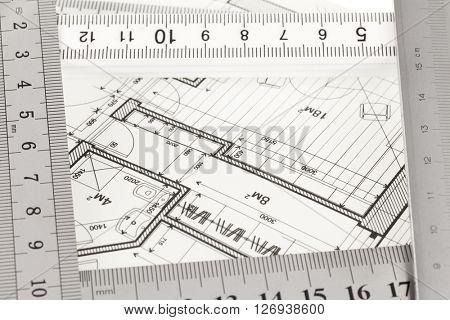 blueprint & rulers
