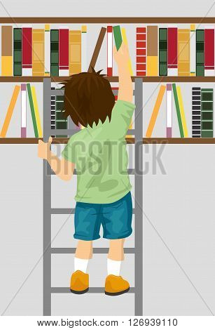 back view of young boy taking book from shelf with ladder in library