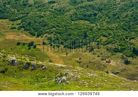 Detail from panoramic view of Pester plateau landscape in southwest Serbia