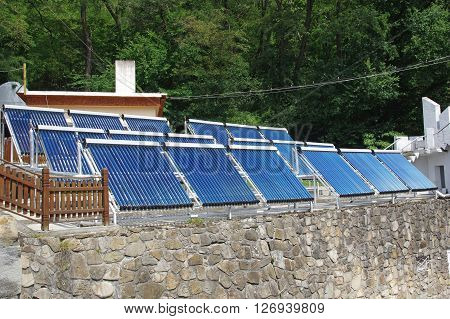 System of solar panels for heating water.