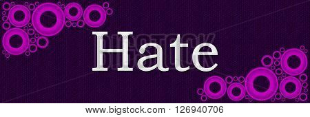 Hate text alphabets written over purple pink background.