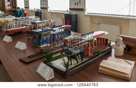 Kiev Ukraine - 25 march 2016: The models municipal transportation by horse tram to the museum of modern urban free transport in Kiev Ukraine