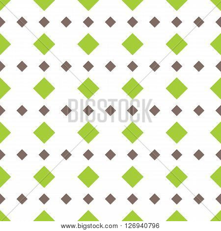 Rhomb vector seamless pattern. Geometric seamless texture with rhombs. Rhombic wallpaper design. Green and brown rhombs on white background. EPS8 vector illustration. Pattern swatch included.