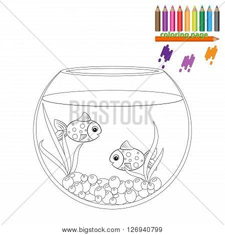 Coloring page. Golden and blue fish in the round aquarium. Cartoon stile