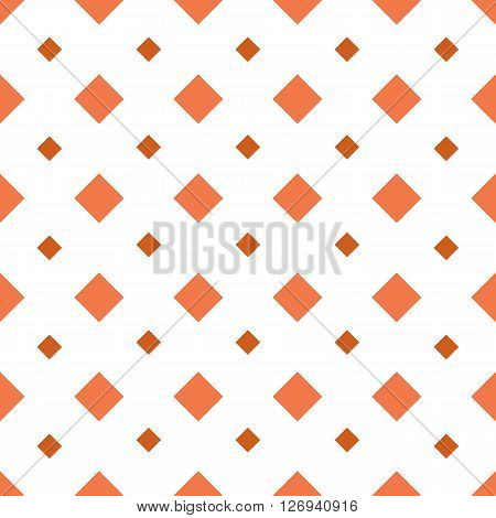 Rhomb vector seamless pattern. Geometric seamless texture with orange and brown rhombs on white background. Rhombic wallpaper design. EPS8 vector illustration. Pattern swatch included.