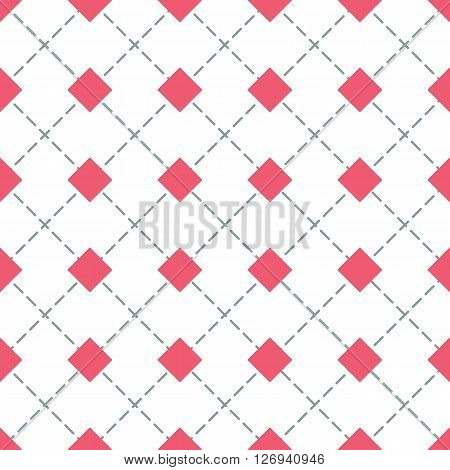Rhomb vector seamless pattern. Geometric seamless texture with red rhombs and diagonal perpendicular lines on white background. EPS8 vector illustration. Pattern swatch included.