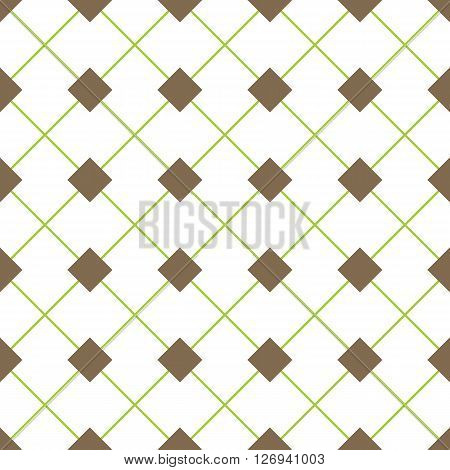 Vector seamless pattern with rhombs. Brown rhombs and green diagonal perpendicular lines on white background. Rhombic wallpaper design. EPS8 vector illustration. Pattern swatch included.