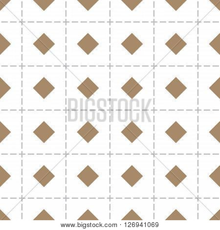 Rhomb vector seamless pattern. Rhombs seamless texture. Geometric seamless pattern with brown rhombs on checkered white background. EPS8 vector illustration with Pattern Swatch