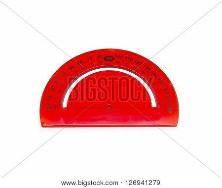 Red Protractor isolated on the white background