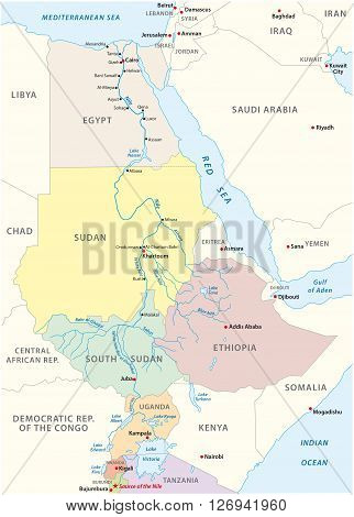detailed map of the river nile of its running in africa