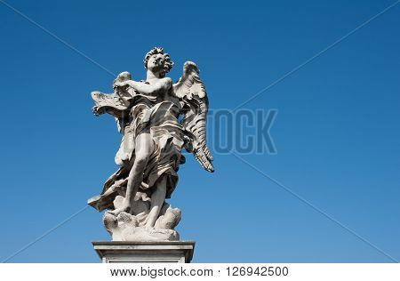 Angel Old Roman Statue On Blue Sky