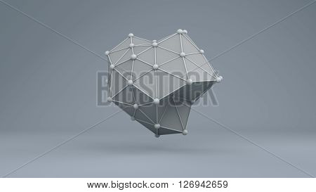 Futuristic abstract wireframe geometry structure 10868. From a series of high resolution technology 3D illustrations.