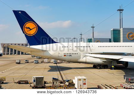 FRANKFURT, GERMANY - MARCH 13, 2016: view of Frankfurt Airport in the daytime. Frankfurt Airport is a major international airport located in Frankfurt and the major hub for Lufthansa
