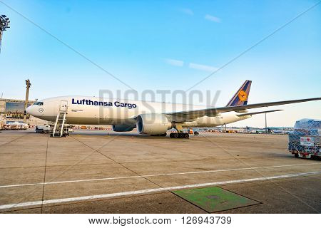 FRANKFURT, GERMANY - MARCH 13, 2016: view of Frankfurt Airport in the morning. Frankfurt Airport is a major international airport located in Frankfurt and the major hub for Lufthansa