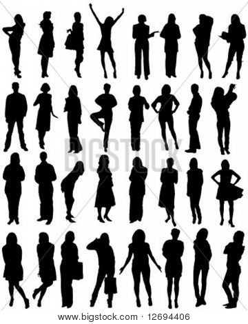 32 human shape silhouettes - vector