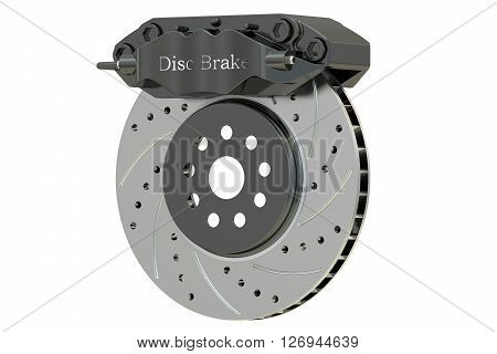 Car disc brake and caliper. 3D rendering isolated on white background