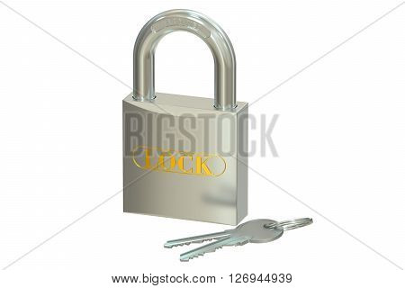padlock with keys 3D rendering isolated on white background
