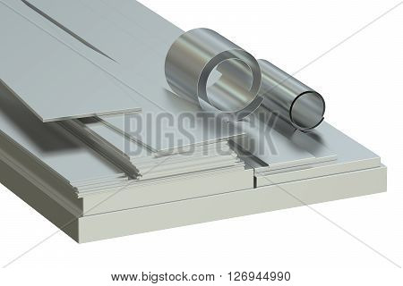 Steel sheets concept rolled metal. 3D rendering
