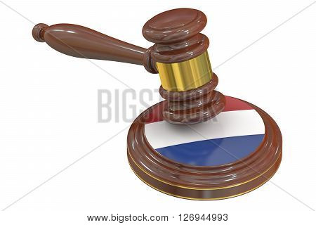 Wooden Gavel with Netherlands 3D rendering isolated on white background