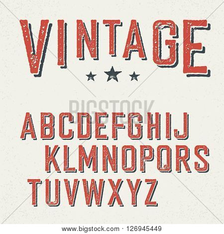 Vintage red grunge and shadowed alphabet letters.