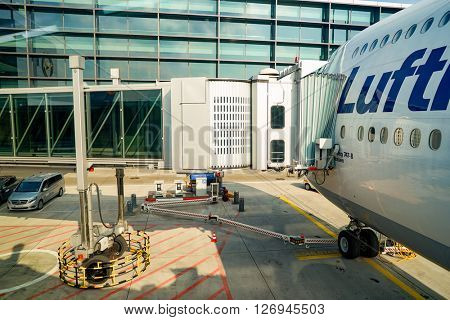 FRANKFURT, GERMANY - MARCH 13, 2016: Boeing 747-8 in Frankfurt Airport. Frankfurt Airport is a major international airport located in Frankfurt and the major hub for Lufthansa