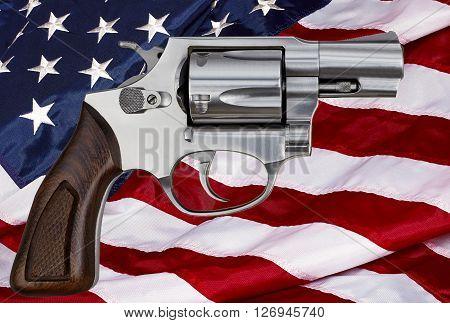 Gun control rights weapon USA American flag concept photograph
