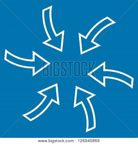 Cyclone Arrows vector icon. Style is thin line icon symbol, white color, blue background.