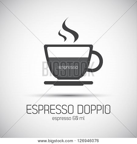 Cup of espresso doppio simple vector icon