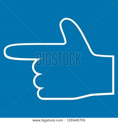 Hand Pointer Left vector icon. Style is thin line icon symbol, white color, blue background.