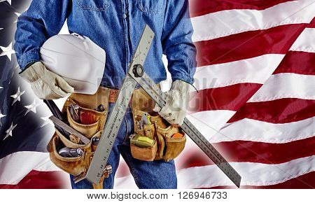 contractor carpenter man on USA flag building America concept patriotism