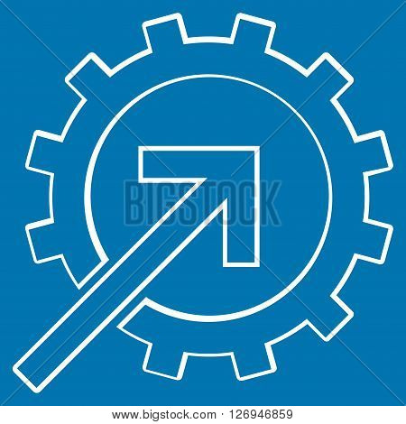 Integration Arrow vector icon. Style is outline icon symbol, white color, blue background.
