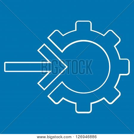Integration Arrow vector icon. Style is stroke icon symbol, white color, blue background.