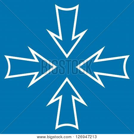 Minimize Arrows vector icon. Style is stroke icon symbol, white color, blue background.