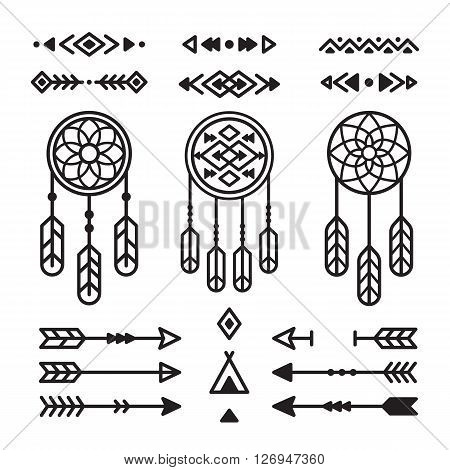 Native American Indian design elements set. Borders arrows dreamcatchers ornaments and other symbols. Tribal vector elements in modern geometric style.