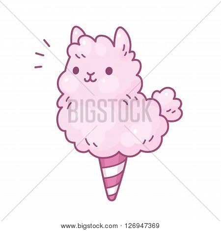 Cute cartoon cotton candy llama. Adorable vector illustration.