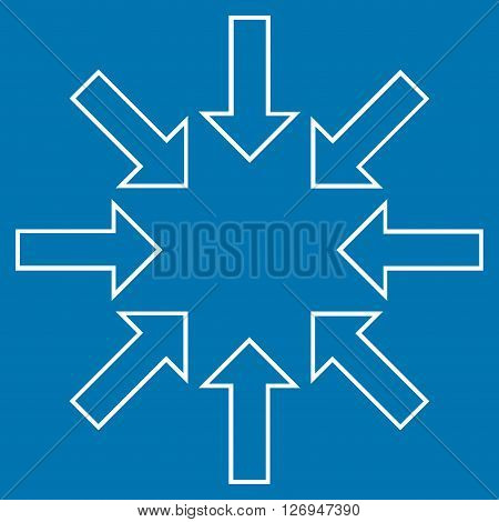 Pressure Arrows vector icon. Style is thin line icon symbol, white color, blue background.