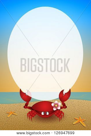 an illustration of Funny crab on the beach