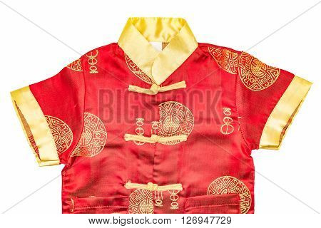Chinese boy's traditional clothing with clipping path on white