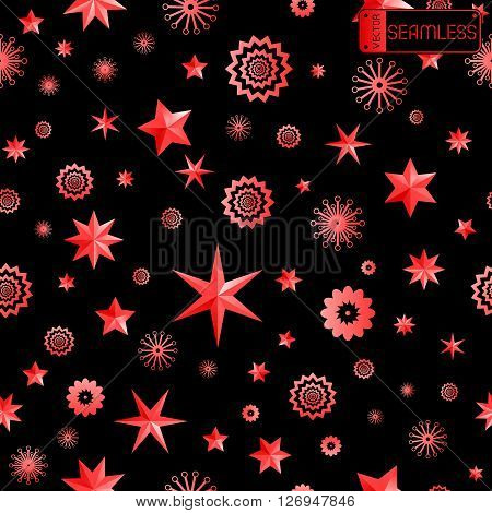 Glamour Red And Black Seamless Texture Background With Stars And Snowflakes. Vector Illustration