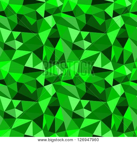 Vector Seamless Green Abstract Geometric Rumpled Triangular Graphic Background. Digital Vector Illus
