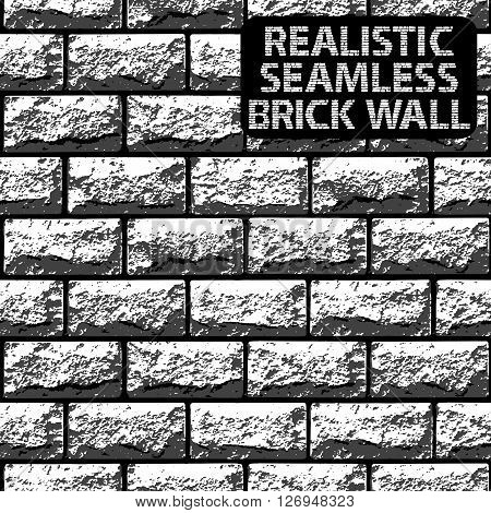 Vector Realistic Seamless Texture Of Grey Contrast Brick Wall. Vector Illustration
