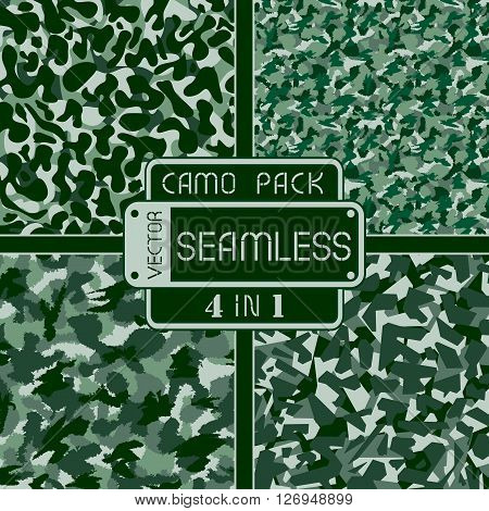 War Green Forest Camouflage Pack 4 In 1 Seamless Vector Pattern. Can Be Used For Wallpaper, Pattern