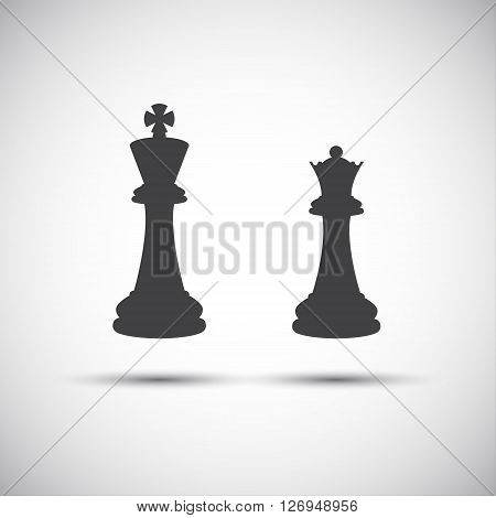 Simple icons chess pieces king and queen