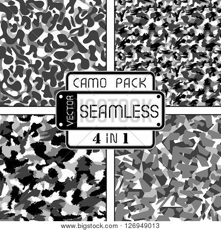 War Black And White Urban Camouflage Pack 4 In 1 Seamless Vector Pattern. Can Be Used For Wallpaper,