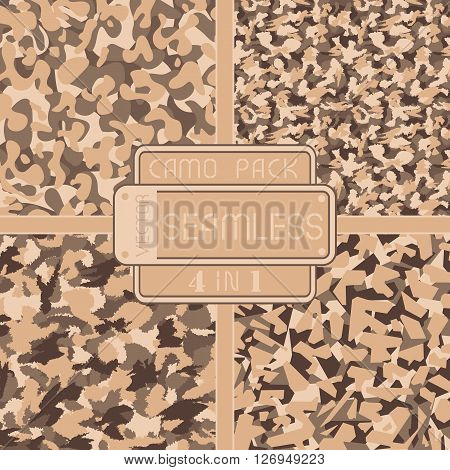 War Desert Brown Safari Camouflage Pack 4 In 1 Seamless Vector Pattern. Can Be Used For Wallpaper, P